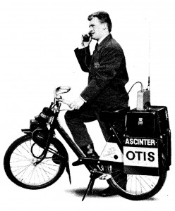 Transportabel mobiltelefon på VeloSoleX.